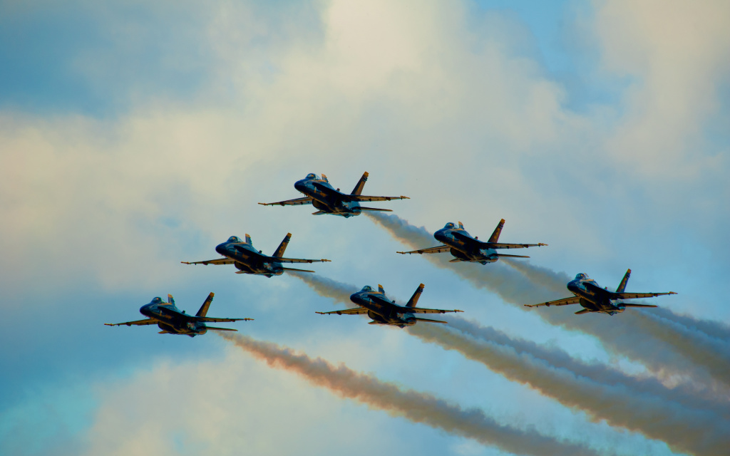 Blue Angels In Delta, Heeia Ahupuaa, Mcbh Kaneohe Bay, HI, US HD Wallpaper