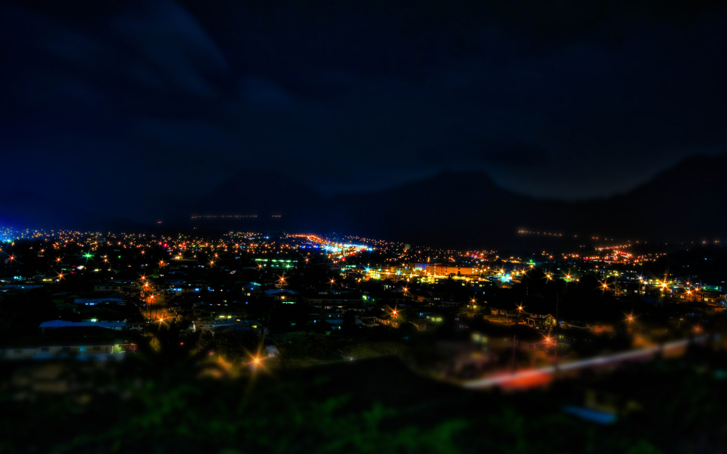 Kaneohe At Night HDR Tilt-Shift HD Wallpaper