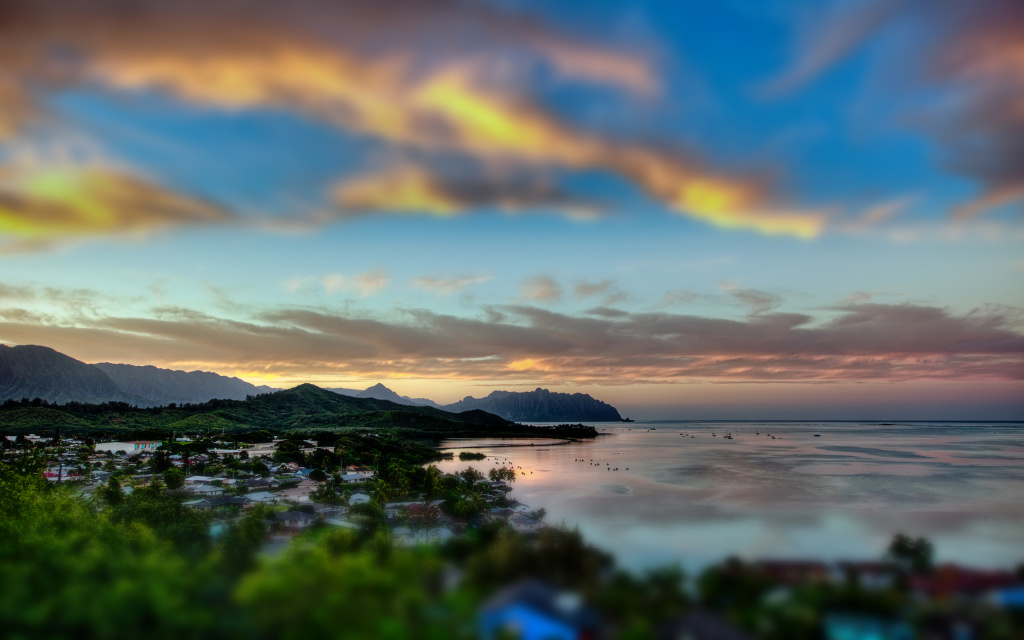 Kaneohe Bay Sunset Tilt-Shift HD Wallpaper