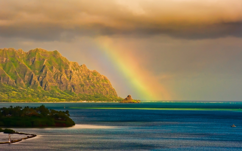 Kualoa Rainbow HD Wallpaper