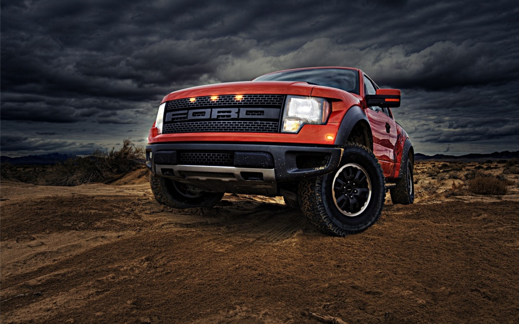 Orange Ford Truck HD Wallpaper