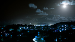 Poha Kea At Night, Kaneohe, Hawaii, US - Blue