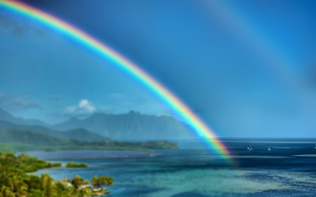 Rainbow, Heeia, Kaneohe, HI, US HD Wallpaper