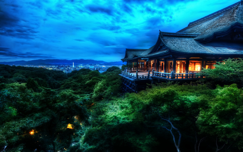 The Treetop Temple Protects Kyoto, Japan HD Wallpaper