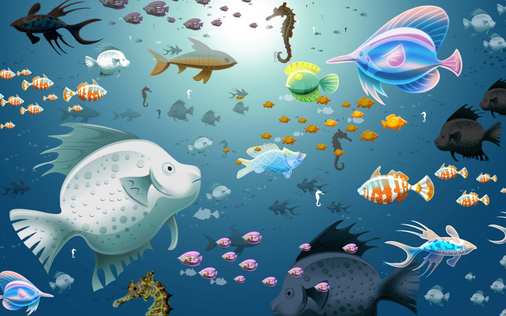 Underwater Illustration HD Wallpaper