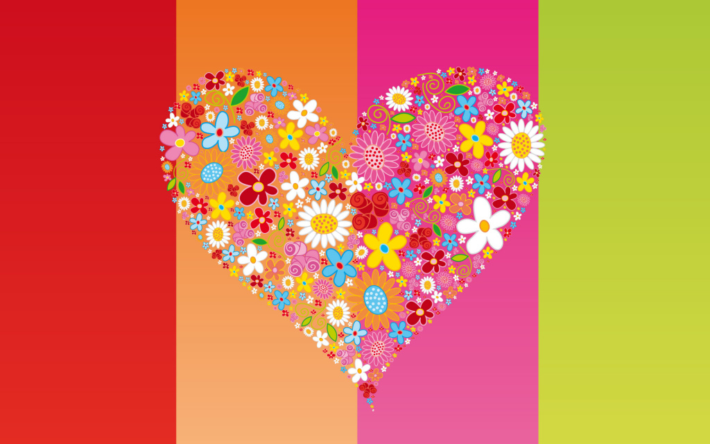Flowery Heart HD Wallpaper