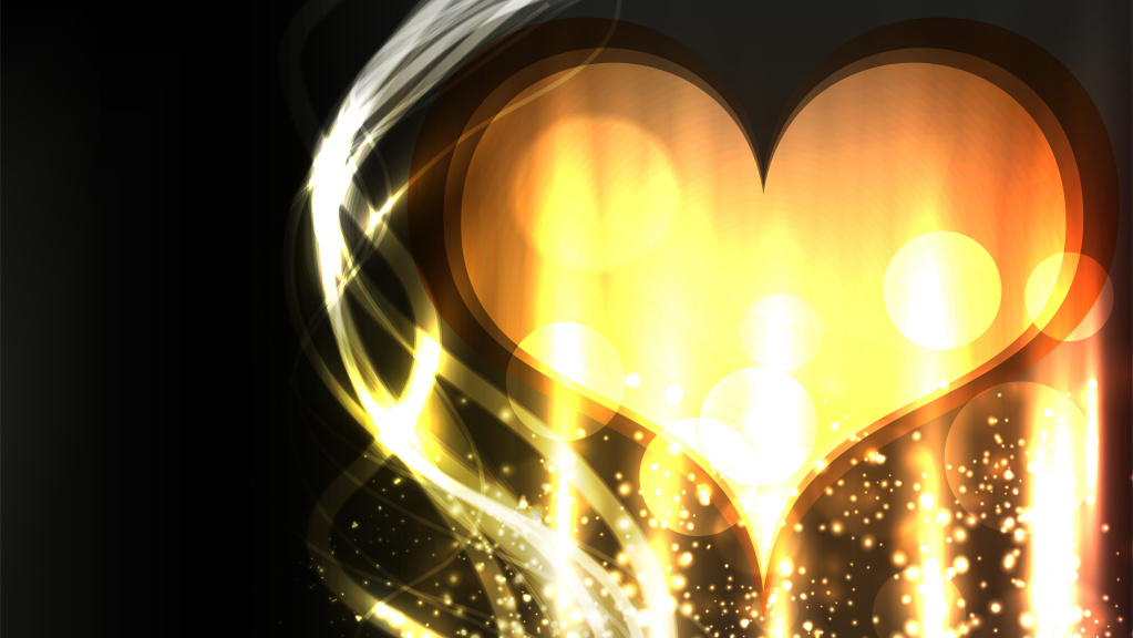 Golden Heart HD Wallpaper